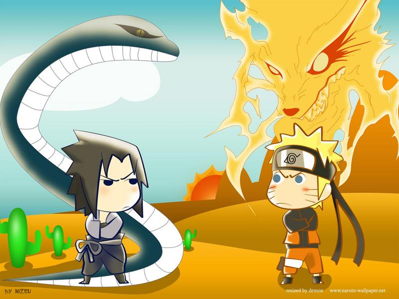 sasuke wallpaper. naruto kyubi amp; sasuke snake